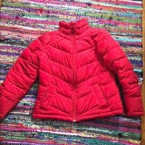 Candy apple puffer jacket